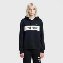 Женская толстовка Fred Perry Printed Brand Hoodie Black фото- 1