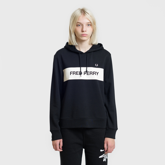 Женская толстовка Fred Perry Printed Brand Hoodie Black
