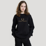 Женская толстовка Fred Perry Sports Authentic Crew Neck Embroidered Black фото- 2