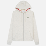 Женская толстовка Lacoste Sport Tennis Full Zip Hoodie Alpes Grey Chine/Goji Red фото- 0
