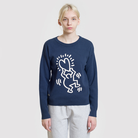 Женская толстовка Lacoste x Keith Haring 3D Print Crew Neck Blue/White