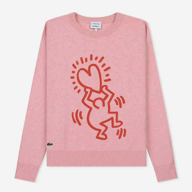 Женская толстовка Lacoste x Keith Haring 3D Print Crew Neck Pink/Red