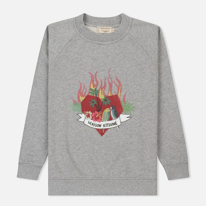 Женская толстовка Maison Kitsune Burning Heart Grey Melange
