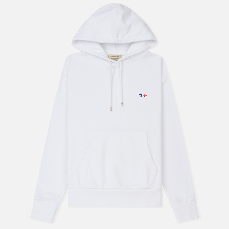Женская толстовка Maison Kitsune Hoodie Tricolor Fox Patch White