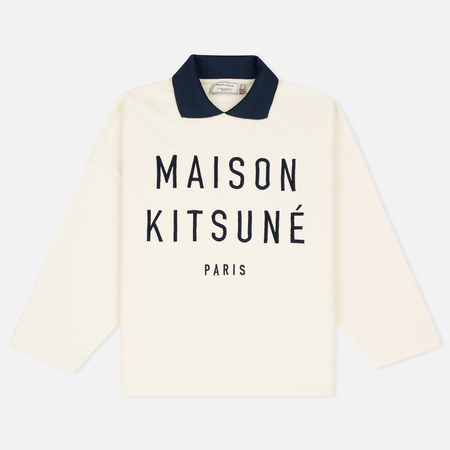 Maison Kitsune Polo Women's Sweatshirt Cropped Ecru