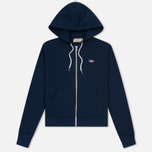 Женская толстовка Maison Kitsune Tricolor Fox Patch Full Zip Dark Blue фото- 0
