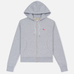 Женская толстовка Maison Kitsune Tricolor Fox Patch Full Zip Light Grey Melange фото- 0