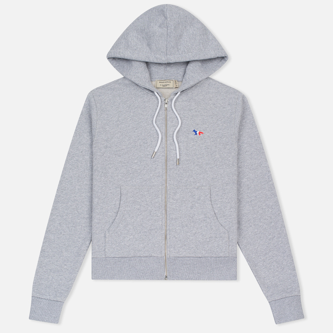 Женская толстовка Maison Kitsune Tricolor Fox Patch Full Zip Light Grey Melange