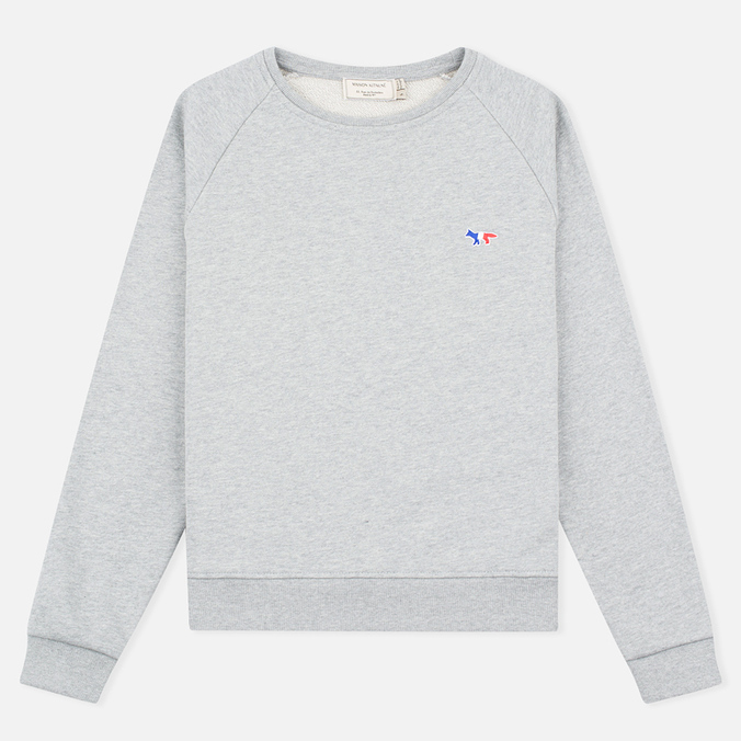 Maison Kitsune Tricolor Fox Patch Women's Sweatshirt Grey Melange