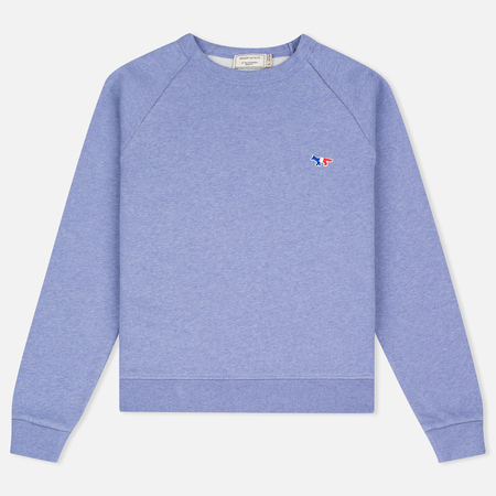 Maison Kitsune Tricolor Fox Patch Women's Sweatshirt Lavender Blue
