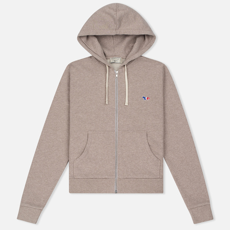 Maison Kitsune Женская толстовка Zip Hoodie Tricolor Fox Patch Beige Melange
