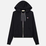 Женская толстовка Maison Kitsune Zip Hoodie Tricolor Fox Patch Black фото- 0