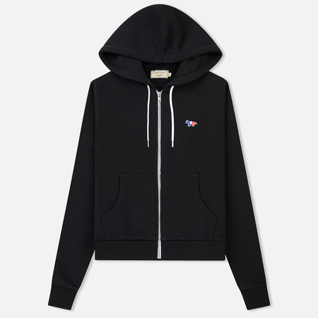 Женская толстовка Maison Kitsune Zip Hoodie Tricolor Fox Patch Black