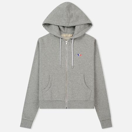 Женская толстовка Maison Kitsune Zip Hoodie Tricolor Fox Patch Grey Melange