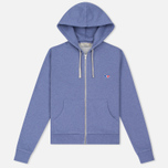 Женская толстовка Maison Kitsune Zip Hoodie Tricolor Fox Patch Lavender Blue фото- 0