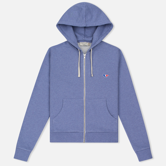 Женская толстовка Maison Kitsune Zip Hoodie Tricolor Fox Patch Lavender Blue