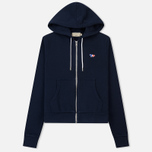 Женская толстовка Maison Kitsune Zip Hoodie Tricolor Fox Patch Navy фото- 0