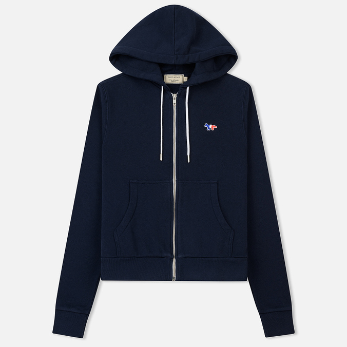 Женская толстовка Maison Kitsune Zip Hoodie Tricolor Fox Patch Navy