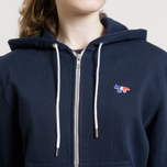 Женская толстовка Maison Kitsune Zip Hoodie Tricolor Fox Patch Navy фото- 7