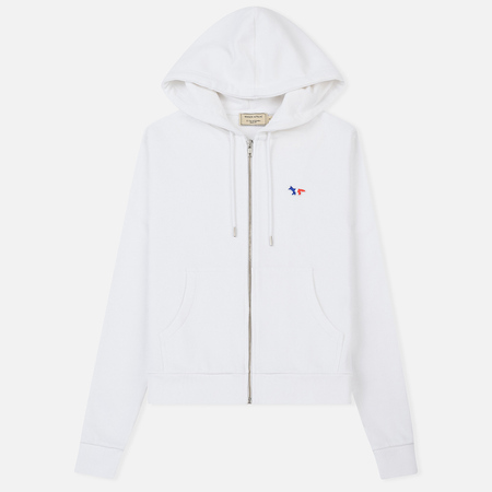Женская толстовка Maison Kitsune Zip Hoodie Tricolor Fox Patch White