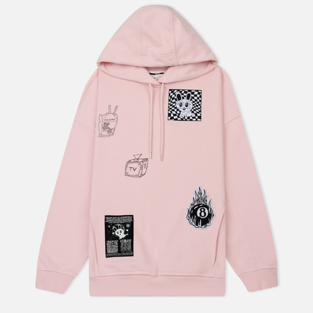 Женская толстовка McQ Alexander McQueen Cut Slouch Hoddie TV & Chill Post It Pink