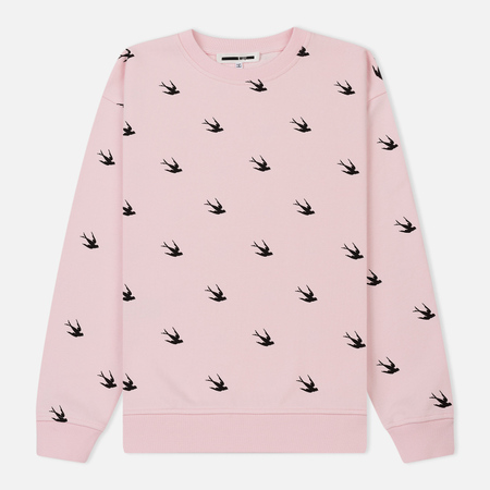 Женская толстовка McQ Alexander McQueen Deco Swallow Allover Post It Pink