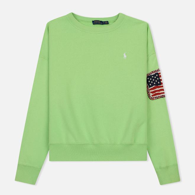 Женская толстовка Polo Ralph Lauren American Flag Patch Relaxed Fit Aruba Lime