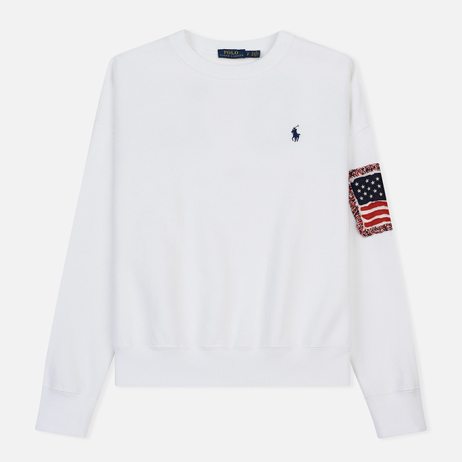 Женская толстовка Polo Ralph Lauren American Flag Patch Relaxed Fit White