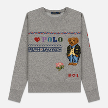 Женская толстовка Polo Ralph Lauren Bear Surrounded Playful Motifs Dark Vintage Heather фото- 0