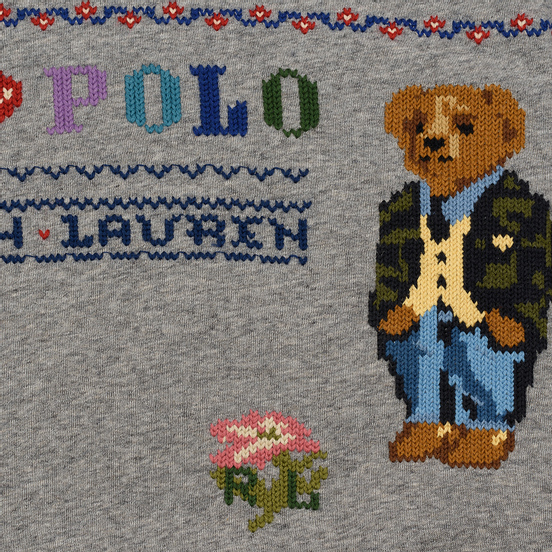 Женская толстовка Polo Ralph Lauren Bear Surrounded Playful Motifs Dark Vintage Heather