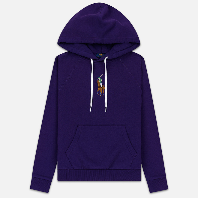 Женская толстовка Polo Ralph Lauren Embroidered Pony Fleece Hoodie Relaxed Fit Champion Purple