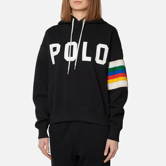 Женская толстовка Polo Ralph Lauren Rainbow Trim Lightweight Seasonal Fleece Hoodie Black
