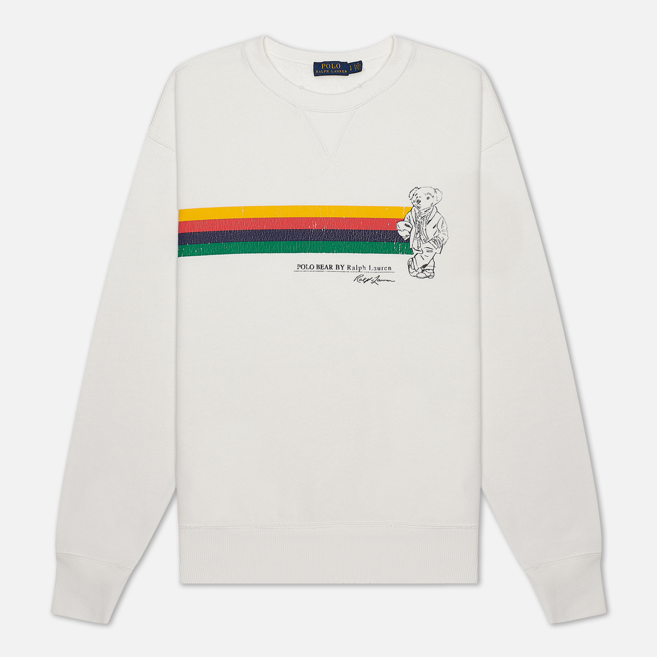Женская толстовка Polo Ralph Lauren Stripe Bear Lightweight Seasonal Fleece Deckwash White