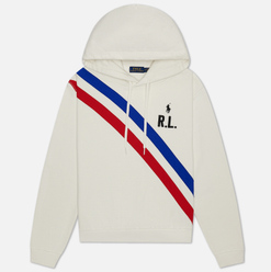 Женская толстовка Polo Ralph Lauren Two Stripe R.L. Hoodie Featherweight Fleece Deckwash White