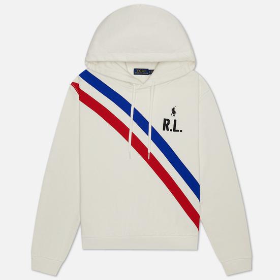Женская толстовка Polo Ralph Lauren Two Stripe R.L. Hoodie Featherweight Fleece Deckwash White