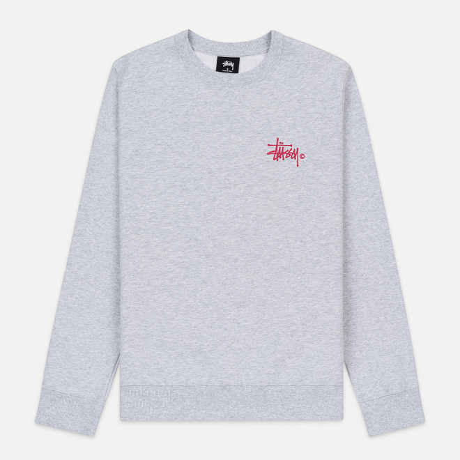 Женская толстовка Stussy Basic Logo Crew Ash Heather/Pink