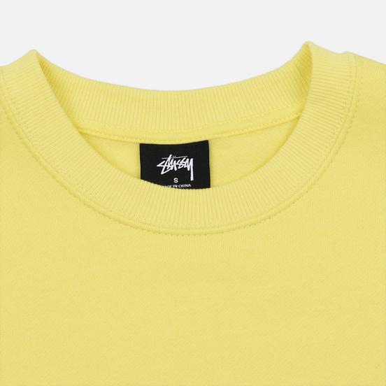 Женская толстовка Stussy Basic Logo Crew Lemon