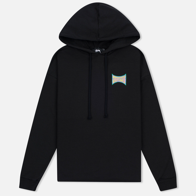 Женская толстовка Stussy Old Skool Raw Edge Hoody Black