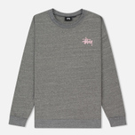 Женская толстовка Stussy Puff Stock Crew Grey Heather фото- 0