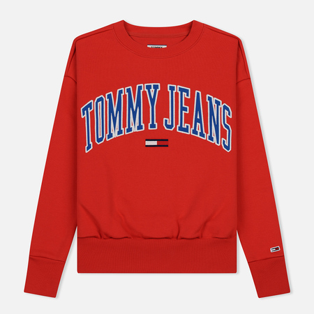 Женская толстовка Tommy Jeans Clean Collegiate Crew Flame Scarlet