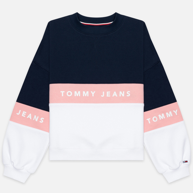 Женская толстовка Tommy Jeans Color Block Crew Neck Classic White/Multicolor