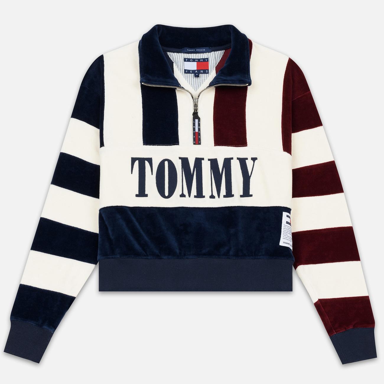 Женская толстовка Tommy Jeans Heritage Mock Neck Velour Navy Blazzer/Multi