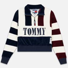 Женская толстовка Tommy Jeans Heritage Mock Neck Velour Navy Blazzer/Multi фото- 0