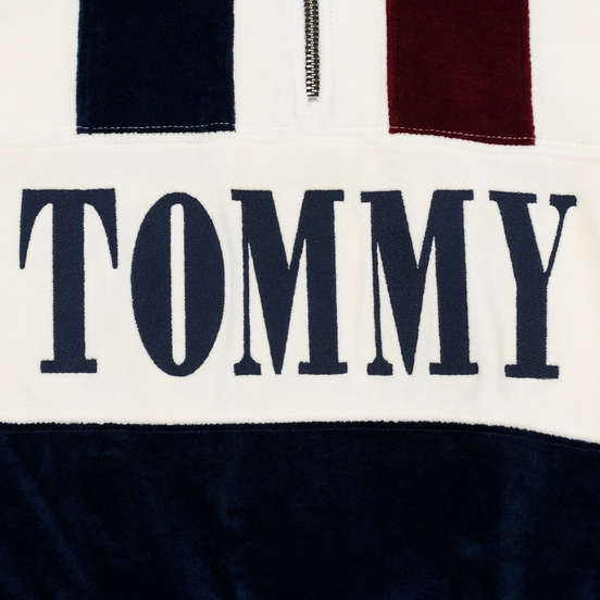 Женская толстовка Tommy Jeans Heritage Mock Neck Velour Navy Blazzer/Multi
