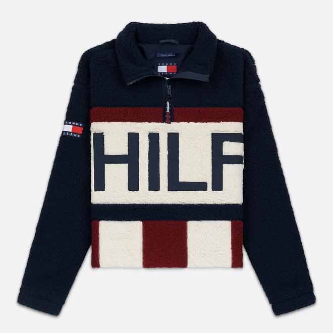 Женская толстовка Tommy Jeans Heritage Sherpa Fleece Navy Blazer/Multi