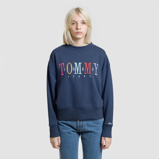 Женская толстовка Tommy Jeans Multicolor Embroidery Crew 1985 Black Iris