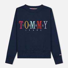 Женская толстовка Tommy Jeans Multicolor Embroidery Crew 1985 Black Iris фото- 0