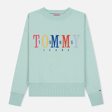 Женская толстовка Tommy Jeans Multicolor Embroidery Crew 1985 Canal Blue фото- 0