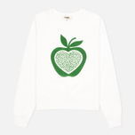 YMC Apple Women's Sweatshirt White/Green photo- 0