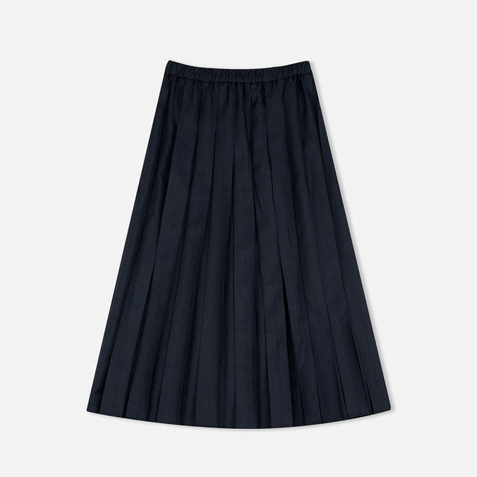 Maison Kitsune Michele Pleated Midi Skirt Dark Navy